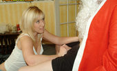 Pure CFNM Santa Gets A Hard-On With Girls On His Lap So They Strip And Wank Him