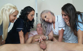Pure CFNM Old Man Enjoys Bed Bath And Naked Wank From Four Sexy Nurses