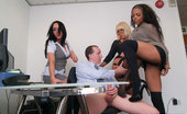 Pure CFNM Perverted Office Boss Is Stripped And Milked At The Hands Of Three Sexy Secretaries
