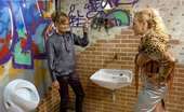 Slime Wave Eliss Fire Cute Public Toilet Girls Sucking A Fake Stiff Dick Hard