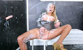 Slime Wave Painting Ruined Sexy Blonde Babe Dressed And Gets Cum All Over Her Sexy Body