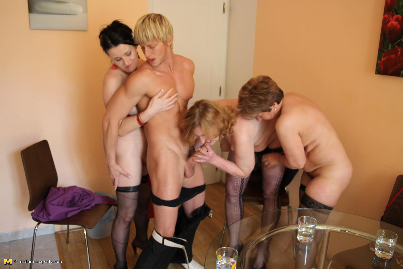 mature sex party three mature sluts take on one hard cock