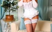 Just Danica Danica Collins In White Lace Corset, Stockings And Satin Gloves