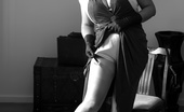 Just Danica Danica In Black And White Vintage Dress And Lingerie