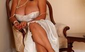 Just Danica Danica Poses In Her Full Length Silk Nightdress Before Peeling It Off