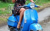 Just Danica Danica Poses Outdoors On A Scooter