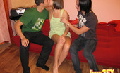Young Sex Parties Two Guys Bang Cutie Fellows Kiss Full Magic Lips Of Their Beautiful Teen Girlfriend In Anticipation Of Having Wild Sex With Her. Girlie Isn'T Against Of Being Double Penetrated By These Handsome Pals. Guys Take Off Her Clothes, Lick Her Luscious Loving Hole, Get Cocks Sucked