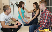 Young Sex Parties Hot Foursome Pounding Two Guys And Their Girlfriends Were Sitting And Discussing Different Things When Suddenly They All Felt Desire To Have Foursome Sex! Nothing And Nobody Could Prevent Them From Doing It. So, Men Undress Babes And Caress Them So Tenderly. Gals Give Nice Blo