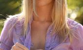 Nextdoor Models Aimee Aimee Shows You What She Has Underneath Her Sheer Purple Shirt And Denim Mini Skirt
