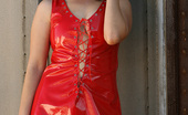 Nextdoor Models Carmen Carmen Peels Out Of Her Ultra Sexy Red Vinyl Dress!