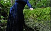 Tasty Trixie Twilight Blue Velvet Pale Lady In Velvet With Vampire Skin In The Twilight Woods Of Washington.