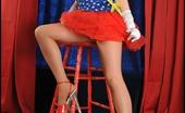 Tasty Trixie Patriotic Pantyhose Busty Trixie Wears Stars, Stripes And Tan Pantyhose