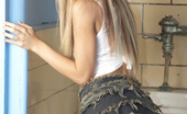 Wicked.com Keri Sable 216066 The Long Haired Blonde Keri Sable Poses In Tiny Top And Jeans Mini Skirt