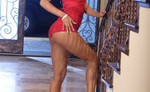 Wicked.com Marie Luv Incredibly Sexy Marie Luv With Perfect Long Legs Poses In Barely There Red Dress