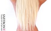 Saffron Taylor Neonblue Blonde Babe In Metallic Blue Hotpants And Bikini