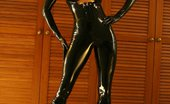 Saffron Taylor Darklatexdominance Latex Model In A Black Latex Catsuit