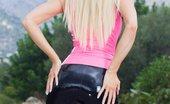Saffron Taylor Neonpinklatex Hot Blonde Fetish Model In Neon Pink Latex