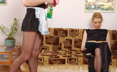 Strapon Sissies Ninette & George Salacious Sissy French Maid Bobs Up And Down On Babe'S Strap-On On The Sofa