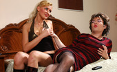 Strapon Sissies Hilda & Ernest Tired Sissy Guy After Hard Working Day Can'T Resist Harsh Strap-On Attack
