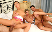 Euro Sex Parties Natali 2 Super Hot Euro Babe Get Both Cum Faced After Getting Pinned Against The Bed In These Hot Power Fucking Group Sex Pics