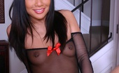 Asian Sweety Jade Marcela In Fishnet Dress