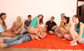 Spicy Roulette Six Very Hot Teen Girls Play With Their Buddies And Share Cocks