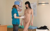 Special Examination Scrupulous Female Doctor Inspects A Nude Brunette
