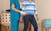 Special Examination Blonde Gets Measured And Examined At A Physical