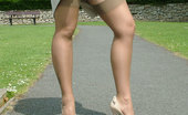 Stiletto Girl A Donna Walk In The Park In Fully Fashioned Stockings And Cream Stilettos