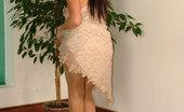 Stiletto Girl Brunette In Sheer Grey Stockings & Cream Stilettos