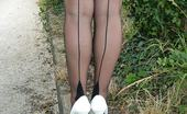 Stiletto Girl Outdoors In White Stiletto Heels (Cathy4)
