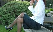 Stiletto Girl Naughty Secretaty Strips Outdoor In Black Stilettos (Fifi1)