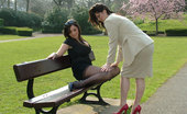 Stiletto Girl Two Horny Girls Outside Wearing Short Skirts And Sexy Nylons