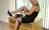 Stiletto Girl Classy Blonde Wearing Black High Heel Stilettos And Sexy Stockings