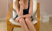 Stiletto Girl Naughty Looking Blonde Wearing Blue High Heels