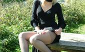 Stiletto Girl Beautiful Laura Is Outside And Showing Off Her Nylon Stockings And High Heels