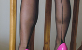 Stiletto Girl This Honey Looks Stunning In A Pink Dress And High Heels