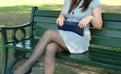Stiletto Girl Dark Blue Stilettos Go Well With This Babes Blue Dress And Dark Stockings.