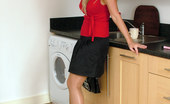 Stiletto Girl Hot Babe Kathryn Is Teasing In The Kitchen In Shiny Black Heels And Silky Nylons