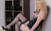 Stiletto Girl Stunning Blonde Tina In Her House Wearing Lingerie, Stockings And Black Stilettos