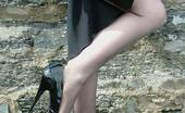 Stiletto Girl 230956 Cute Redhead Miranda Flashing Her Shiny Stilettos And Stockings By The Lake