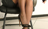 Stiletto Girl Leggy Kathryn Shows Her Gorgeous Black Nylon Legs And Tall Shiny Stilettos, As She Struts Around The Office