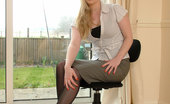 Stiletto Girl Sexy Blonde Secretary Toni Shows You Around Her Home Office In A Pair Of Black Nylons And Cream Stilettos