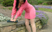 Stiletto Girl Cute Brunette Elise Works On Your Fetish Wearing A Tight Pink Summer Dress And Shiny Black Stilettos
