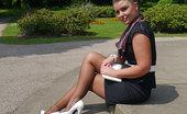 Stiletto Girl Sexy Karen Gets Some Hot Sun On Her Shiny Nylon Legs And Perfect White Stilettos