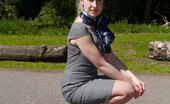 Stiletto Girl Sexy Milf Iona Can'T Help But Show Off And Tease You In Her Gorgeous Tall Blue Stilettos