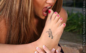 Barefoot Confidential Jordana James Jordana James Walks On The Feet Of An Angel. Puffy Pink Soles Evoke Images Of Fluffy Clouds At Sunrise. This Gorgeous Goddess Of A Woman Sits Outside On A Rock And Leisurely Displays For You The Divine Beauty Of Her Body, From Head To Glorious Toe.