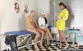 Medical Femdom Doctor-Nurse Femdom Couple Examining A Bald Dude