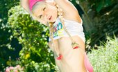 Lolly Hardcore Teen Model Outside Blonde Teen Cutie In Pigtails Showing Off Amazing Body