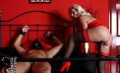 Leggy Lana Lana Has Her Slave Tied Up And She Is Sucking His Dick Hard